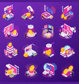 financial technology glow isometric icons vector image vector image