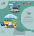 flat warehouse logistics template vector image vector image