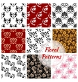 Floral seamless pattern with flower and leaf vector image