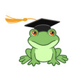 frog in graduation cap cartoon vector image