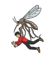 Giant mosquito kidnaps human color sketch