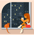 girl sits on the windowsill vector image