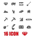 Grey mining icon set vector image