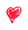 grunge red heart by chalk for valentine day vector image vector image