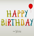 Happy birthday card with folded colored paper vector image vector image