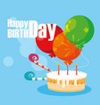 happy birthday card with sweet cake and balloons vector image vector image