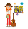 hippie woman with a guitar cartoon vector image vector image