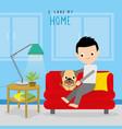 home boy activity dairy relax cartoon vector image vector image