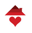 home with heart in red color vector image vector image
