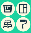 industry icons set collection of glass frame vector image vector image