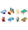 isometric recreation entertainment room set vector image vector image
