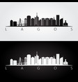 lagos skyline and landmarks silhouette vector image vector image