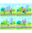 pensioner rolling with old wife senior male female vector image vector image