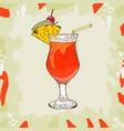 planter punch sketch cocktail of dark rum orange vector image