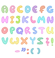 polka dot alphabet with stitches vector image