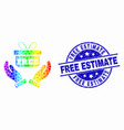 rainbow colored dotted hands give gift icon vector image vector image