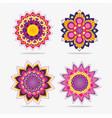 raksha bandhan flowers mandala design set vector image
