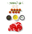 raw beef steak and seasoning on white background vector image