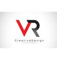 red and black vr v r letter logo design creative vector image vector image