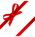 red ribbon realistic bow gift scarlet rope knot vector image