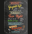 restaurant food menu design with chalk board vector image vector image