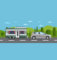 road travel poster with hatchback car and trailer vector image vector image