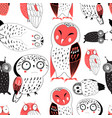 seamless graphic pattern funny owls vector image