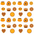 seamless pattern cakes over white vector image