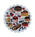 set of colorful isolated sweets and cakes on a vector image