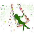 Silhouette of a Girl on a Swing vector image vector image