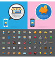 Smartphone alert and flat icons collection Set 1 vector image