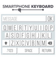 smartphone keyboard abc alphabet buttons vector image