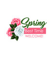spring time roses flowers bunch icon vector image vector image