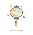 Thin line icons Chinese lantern vector image vector image