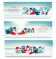Three Christmas banners with presents vector image vector image