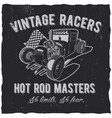 vintage racers poster vector image vector image