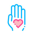 volunteers support hand love thin line icon vector image vector image