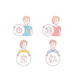 wallet shopping bag and timer icons algorithm vector image vector image