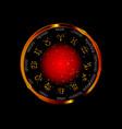 wheel zodiac golden astrological signs vector image