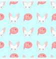 white rabbit sneaking on blue background vector image
