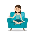 woman sitting on sofa icon vector image