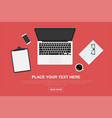 workspace in top view modern workplace design vector image vector image