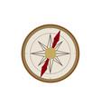 flat cartoon vintage retro style compass vector image