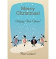 Merry Christmas card with funny sheep 2015 vector image
