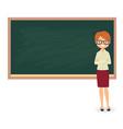 young female teacher against a blackboard vector image