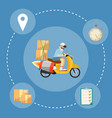 fast delivery banner boy riding yellow scooter vector image