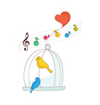 A singing bird in a cage vector image
