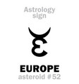 astrology asteroid europe vector image vector image