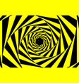 black yellow warning spiral tunnel abstract vector image vector image