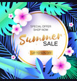 blue tropical summer salepalm leaves plants vector image vector image
